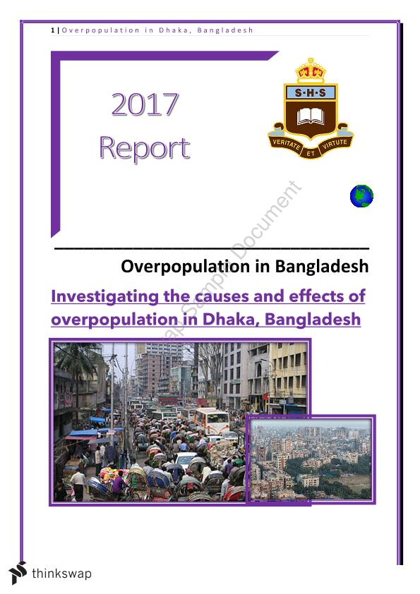 Overpopulation of Dhaka Report