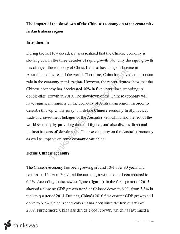 The impact of the slowdown of the Chinese economy on other economies in Australasia region