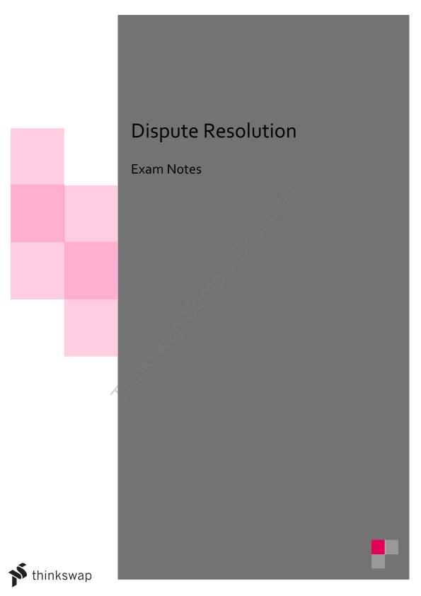 Dispute Resolution Full Notes