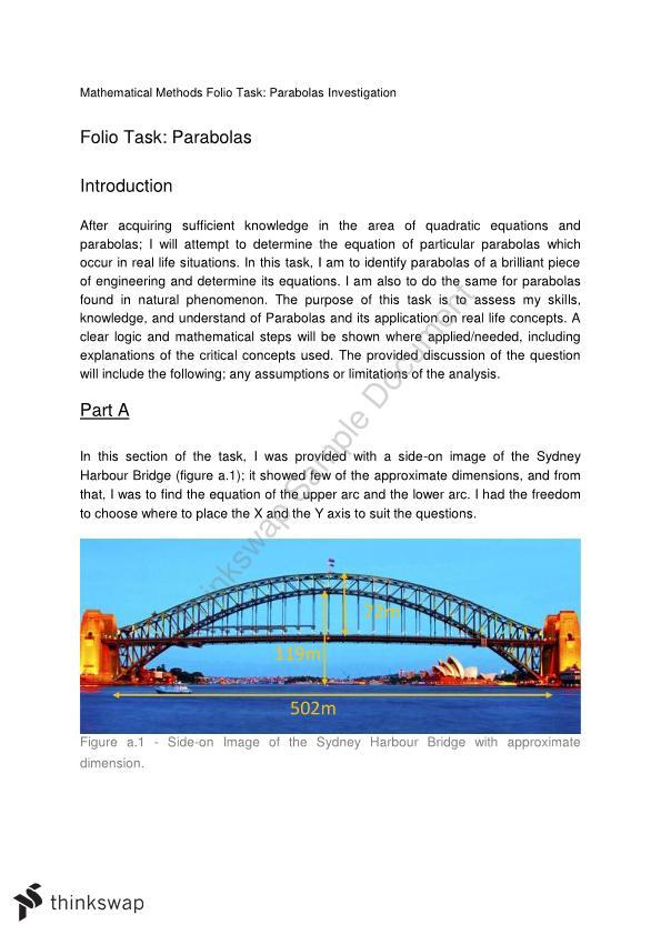 Mathematical Methods Folio Task Parabolas Investigation