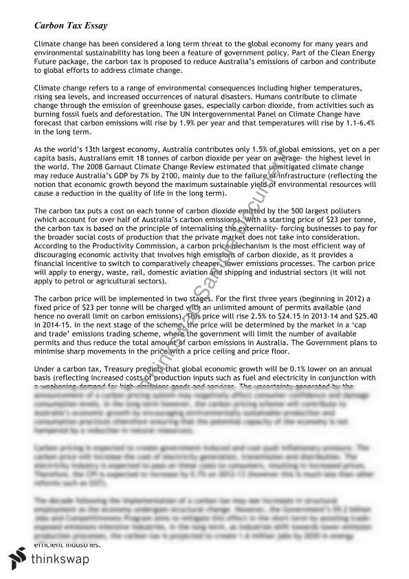 carbon tax essay year hsc economics thinkswap document screenshots carbon tax essay