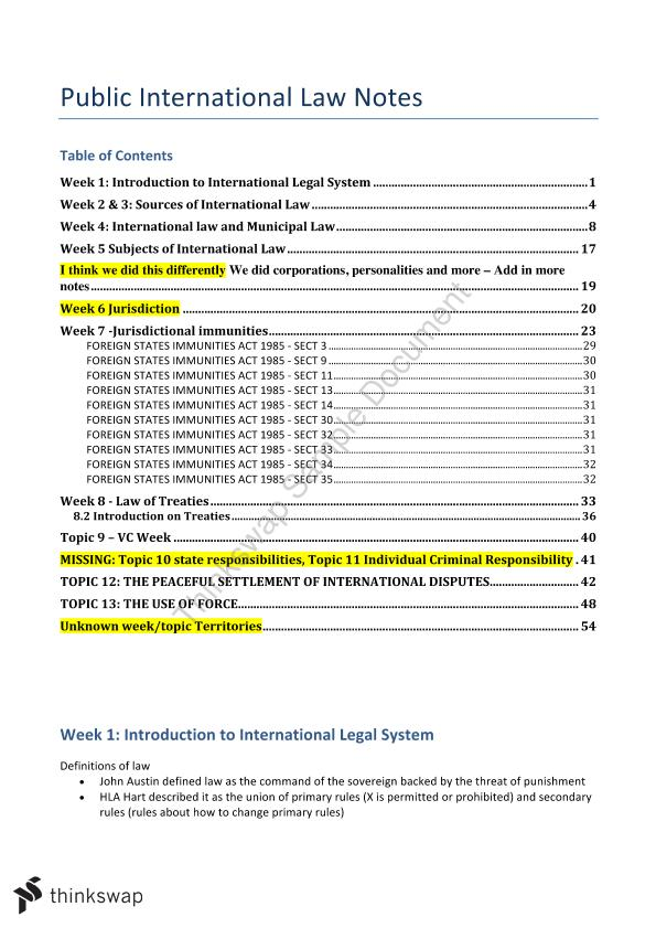 Public International Law Notes