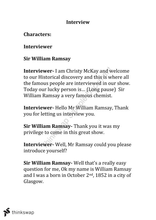 Interview with Sir William Ramsay