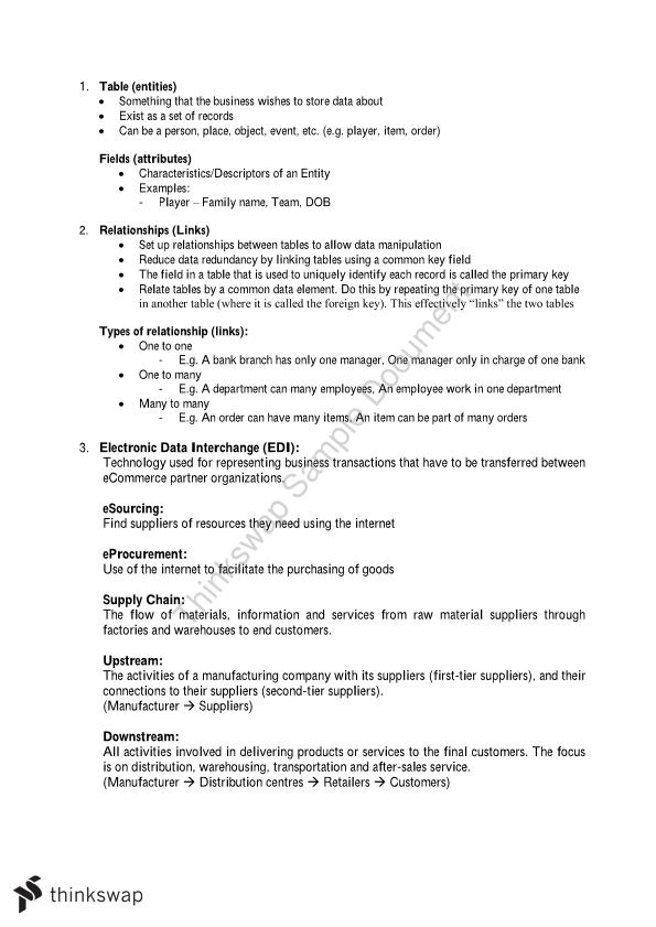 Business Computing 1 Final Exam Notes