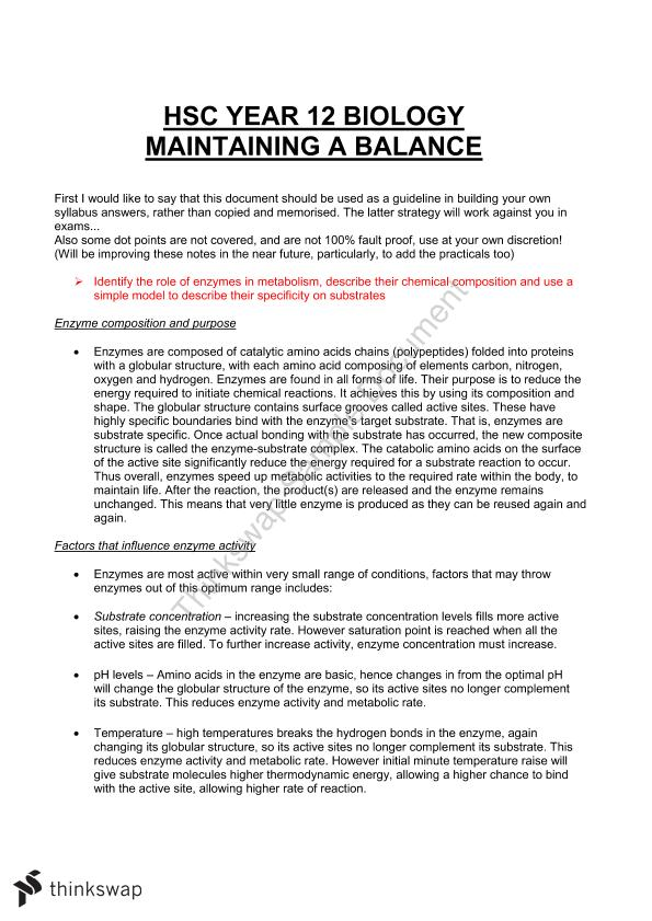 HSC Biology-Maintaining the Balance full notes