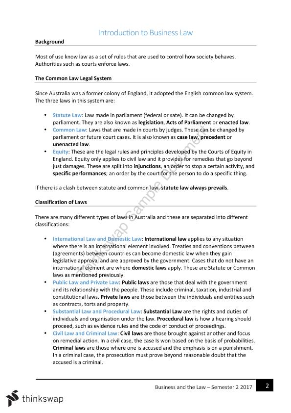 CLAW1001: Foundations of Business Law Complete Notes - Page 1