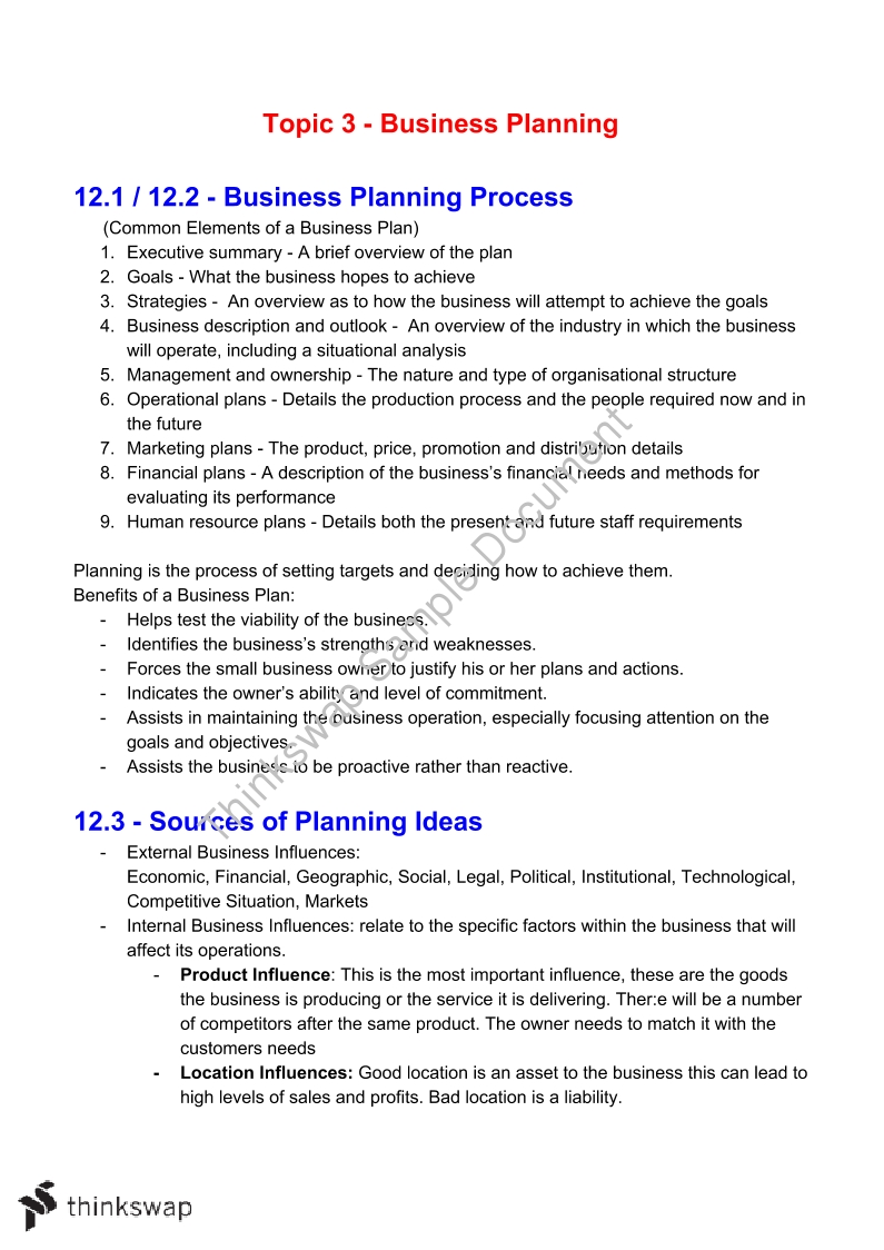 Business Studies - Business Plan Notes - Page 1