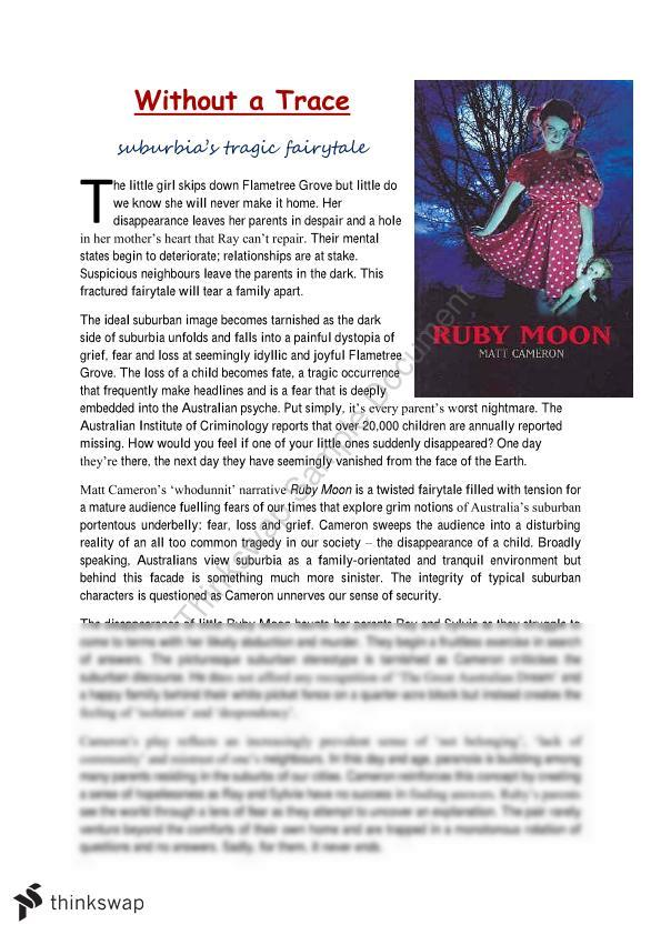 Feature Article Based of the Play 'Ruby Moon'
