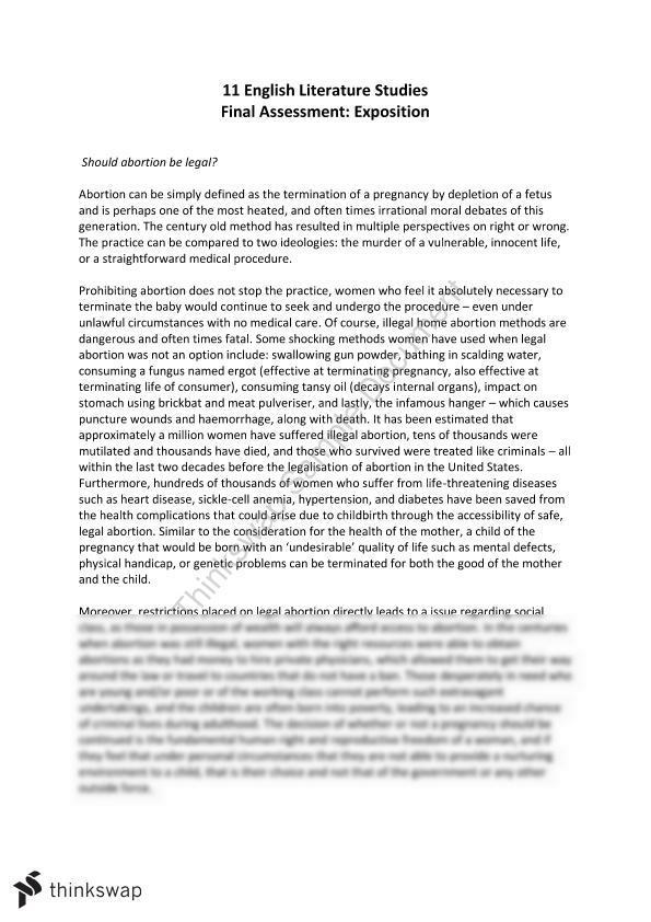 Persuasive essay for abortion