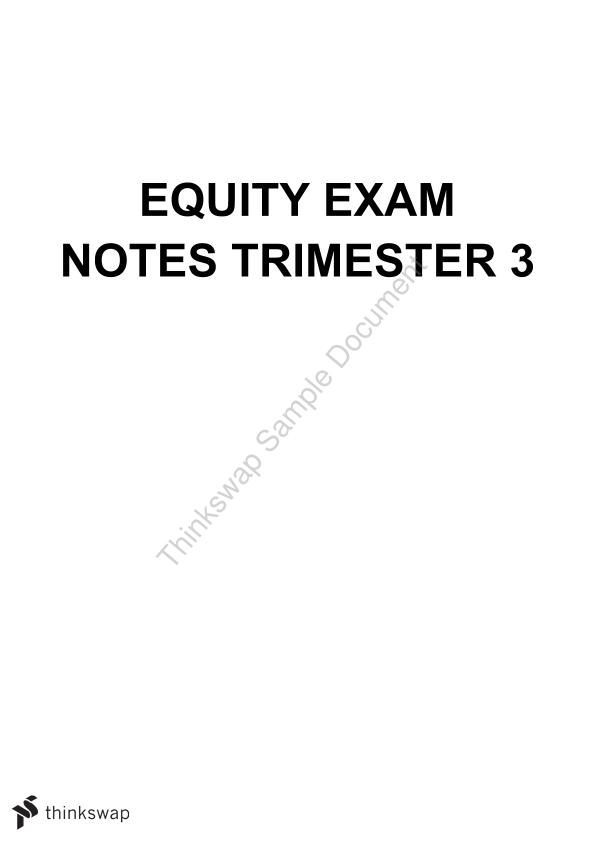 Equity Exam Notes