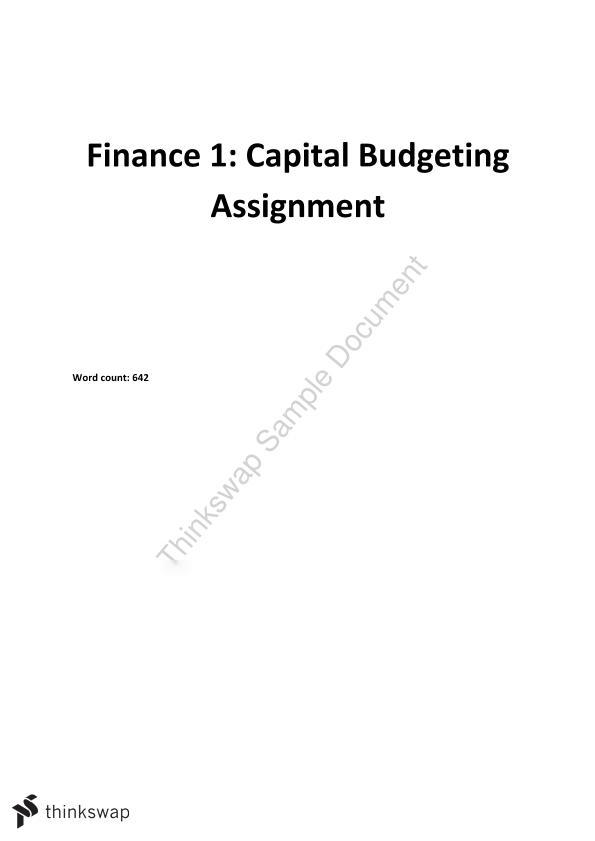 Capital Budgeting Assignment on Well Drilling Methods