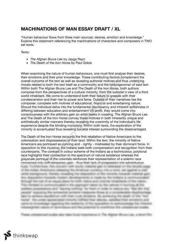 Machinations Of Man Essay - 95% - Page 1