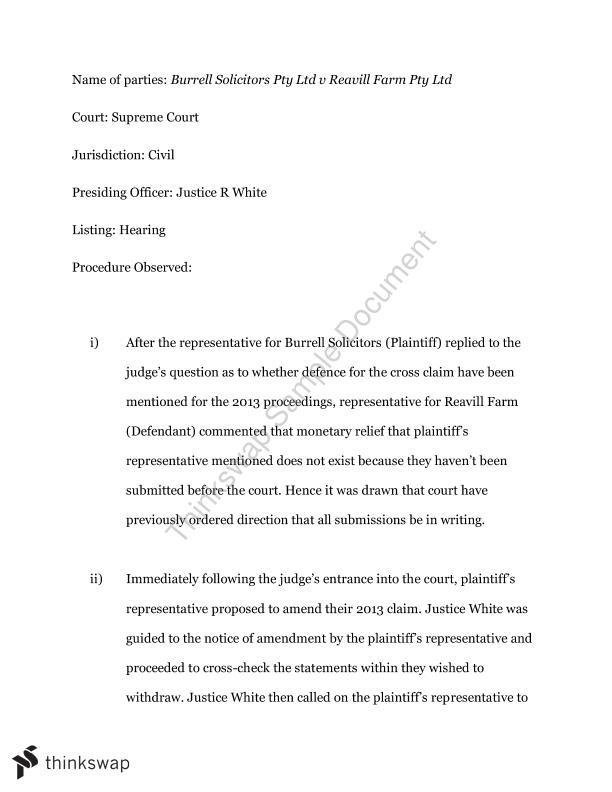 Court Report Assignment