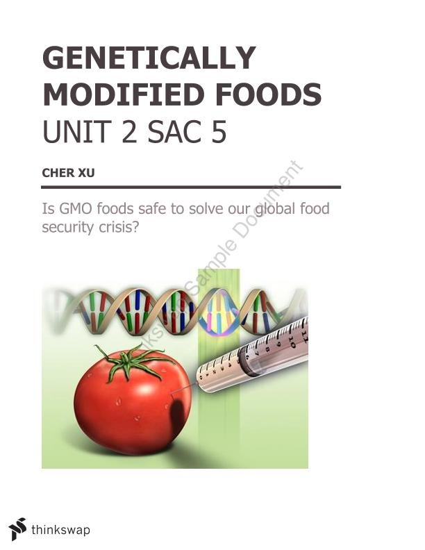 Report on Genetically Modified Foods