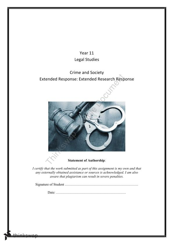 Extended Research Response - Criminal Law