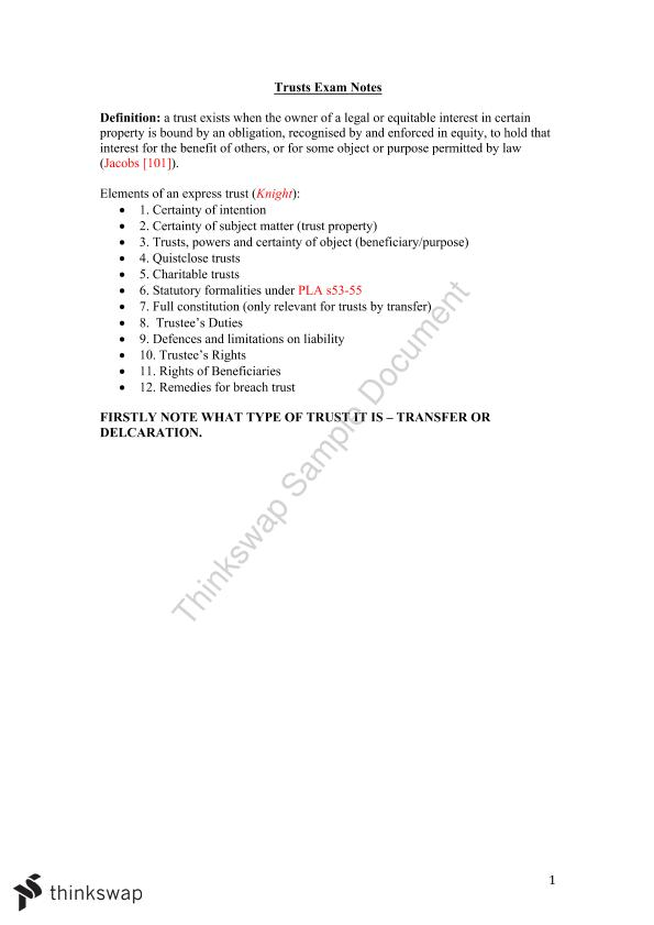 Trusts Concise Exam Notes  - Page 1