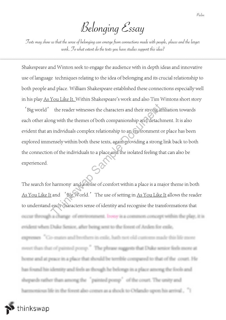 want and essay introduction belonging Read a belonging creative writing sample in the room where  here is a sample of a belonging essay written by a matrix  and i wouldn't necessarily want one.