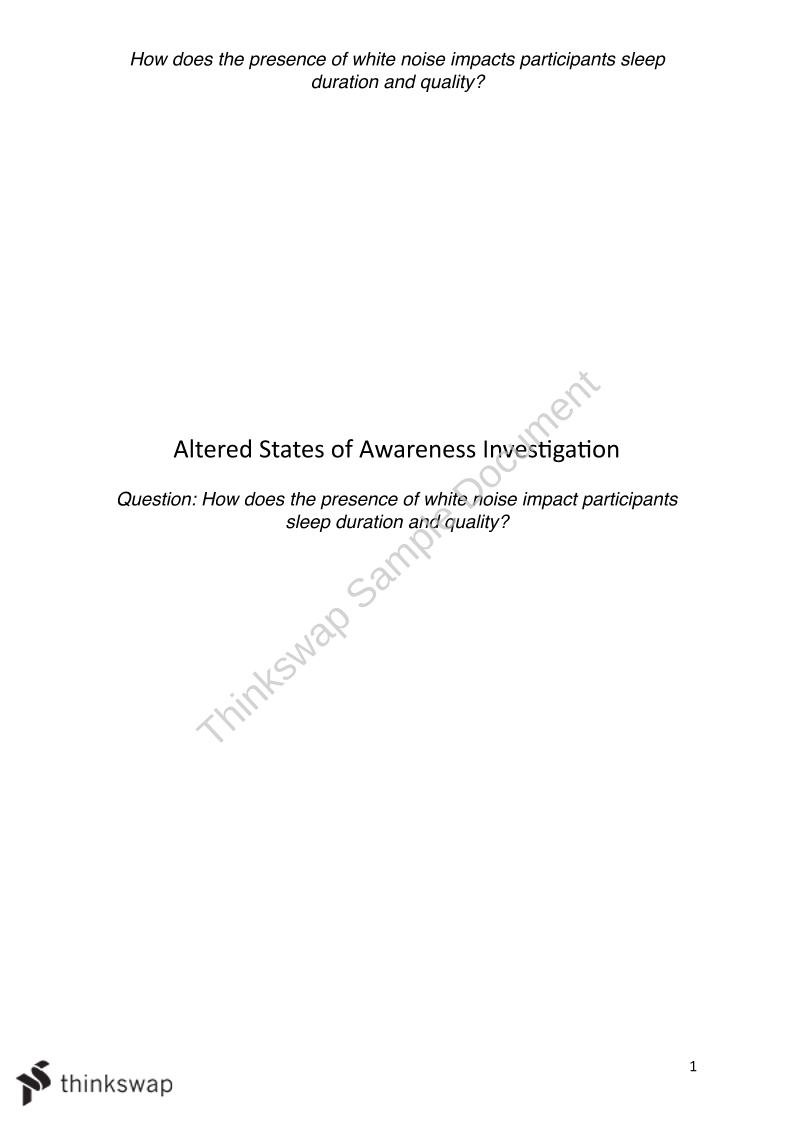 Altered States of Awareness Investigation