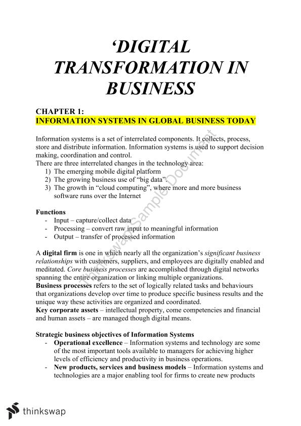 Information Systems in Business, Full Textbook Notes - Page 1