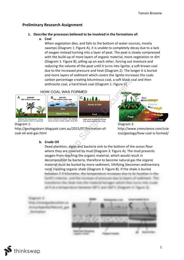 Energy Research Task: Chemistry - Page 1