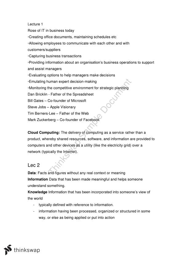 Business Computing 1 Study Notes  - Page 1