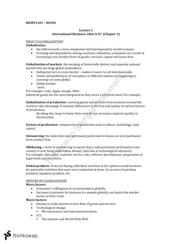MGMT1101 Mid Exam Notes - Page 1