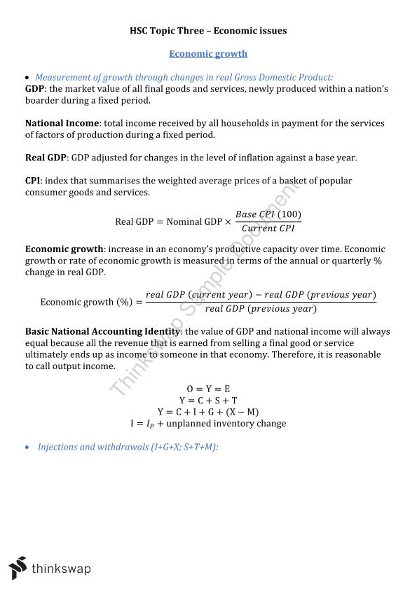 Economic Issues Topic 3 Notes