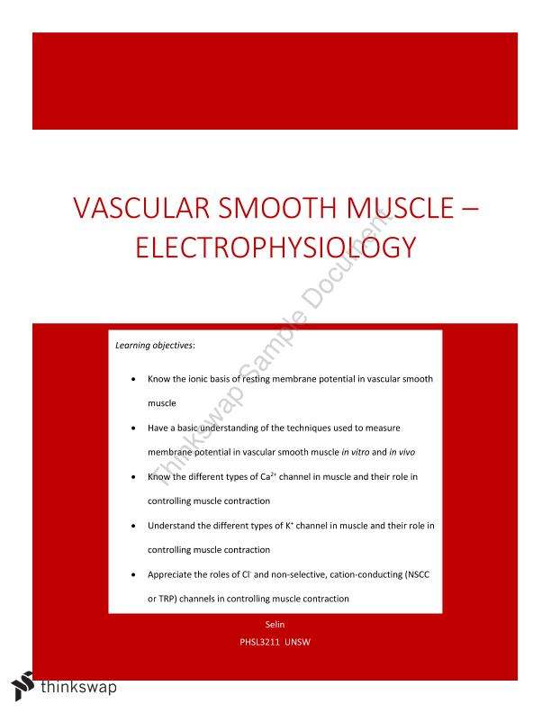 Lecture 2: Vascular Smooth Muscle Notes