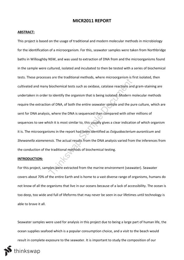 Microbiology Bacterial Organism Report - Page 1
