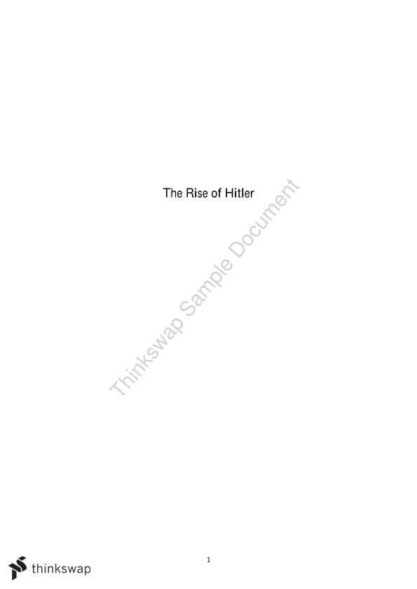 The Rise of Hitler - Page 1