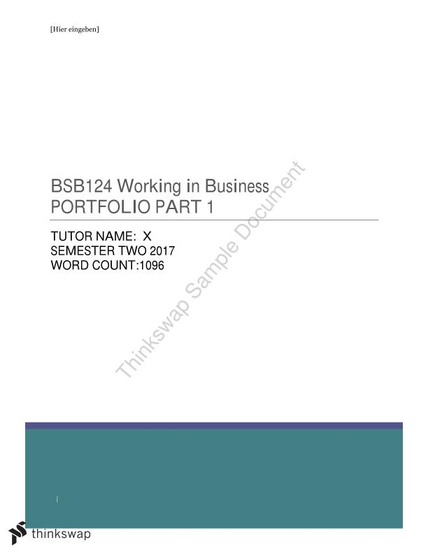 BSB124 Working in Business Portfolio Part 1