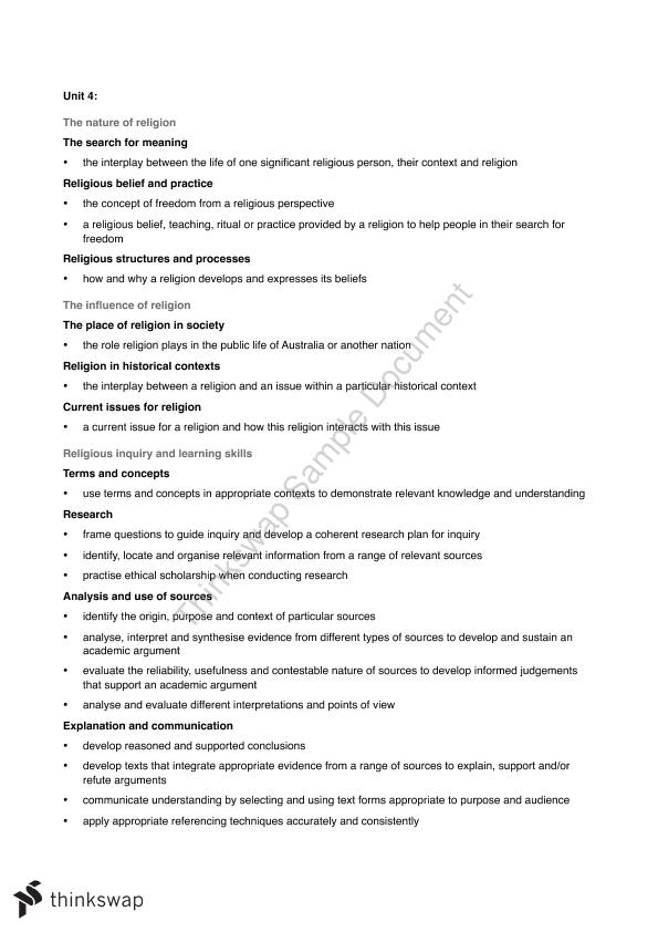 Unit 4 ATAR Religion and Life Syllabus Dot Point Notes