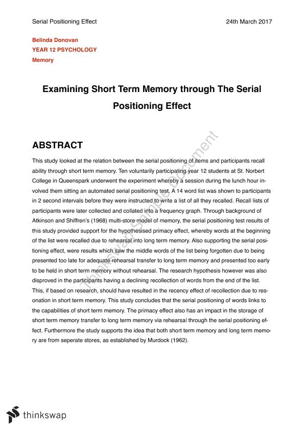 Psychology Lab Report: Short Term Memory