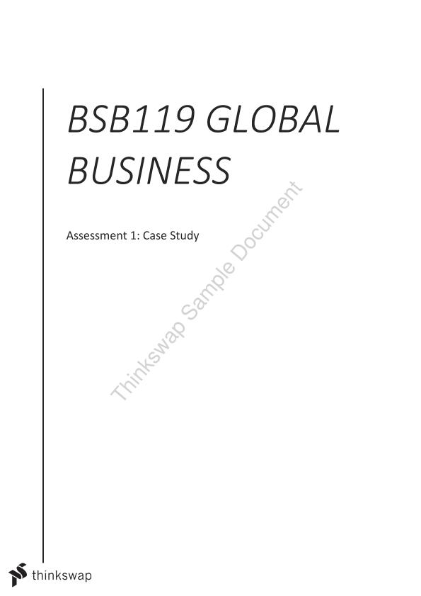BSB119 Global Business Case Study