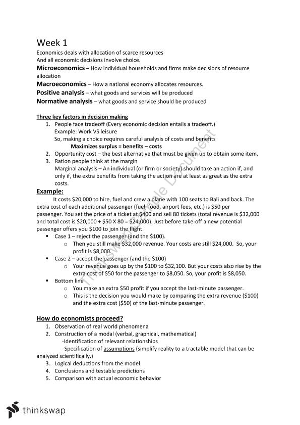 Principles of Microeconomics Study Notes