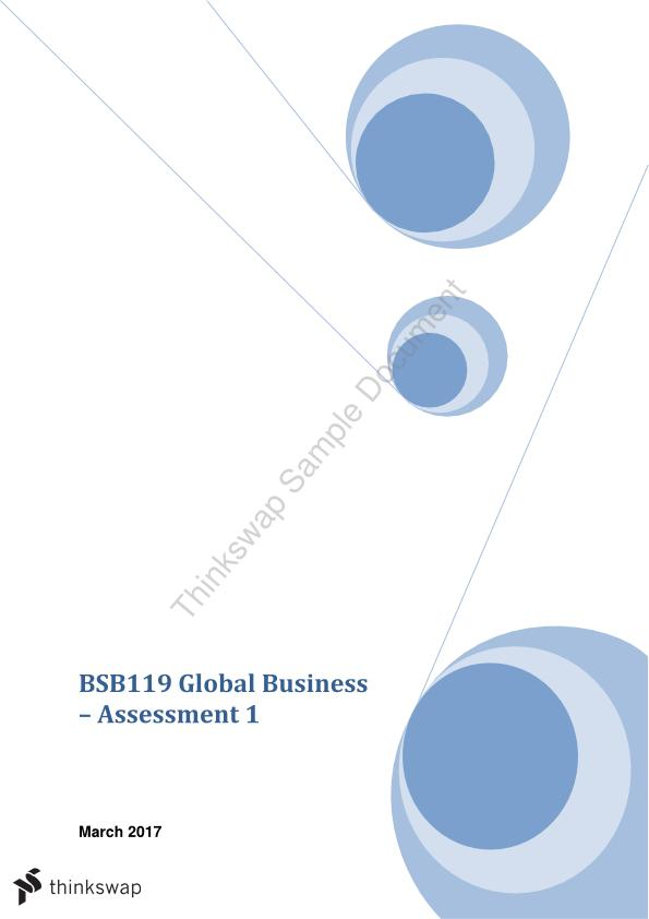 BSB119 Global Business Assignment 1 - Country/FDI Analysis - I received a 7 for this assignment
