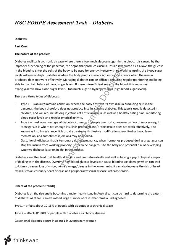 Diabetes Essay  Year  Hsc  Personal Development Health And  Diabetes Essay Page