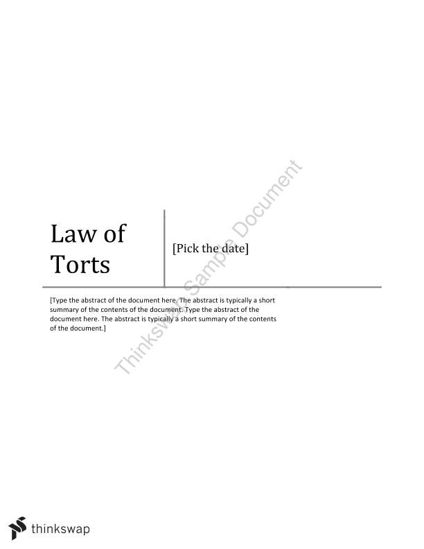 Complete Semester Notes - Torts (Australia)