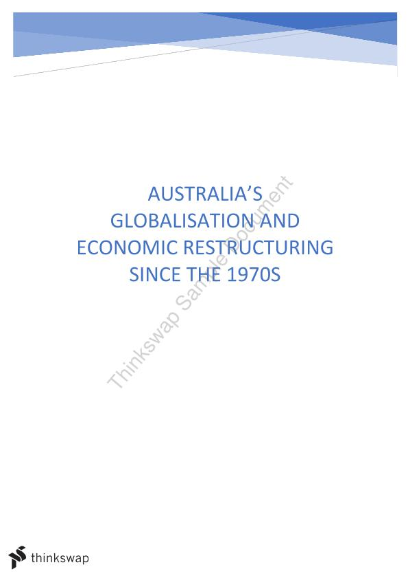 GEOG1000 Assignment- Economic Restructuring and Globalization in Australia