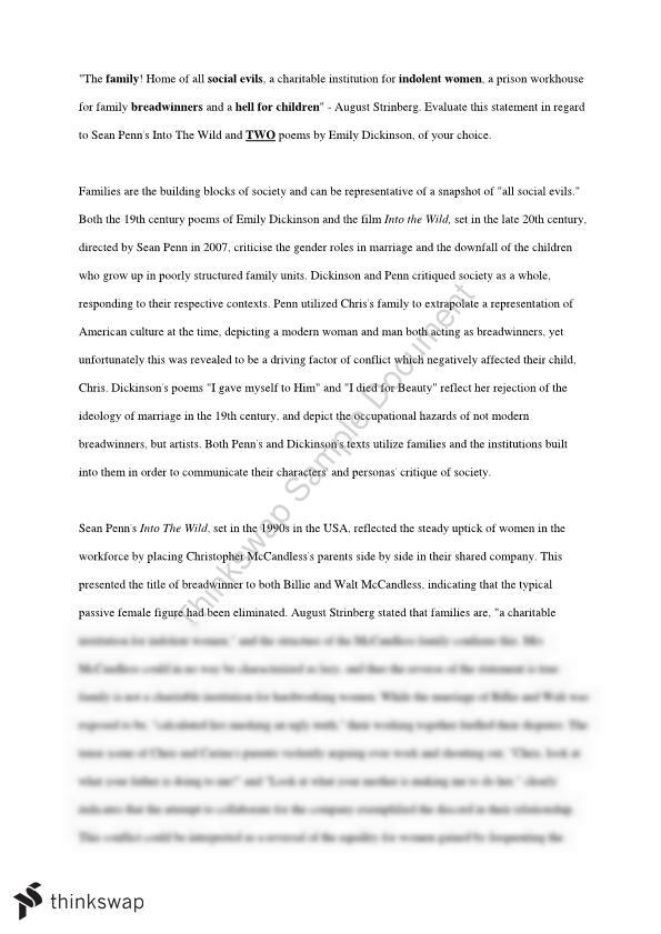 Comparative Study Essay: Emily Dickinson and Into The Wild - Family Institutions  - Page 1