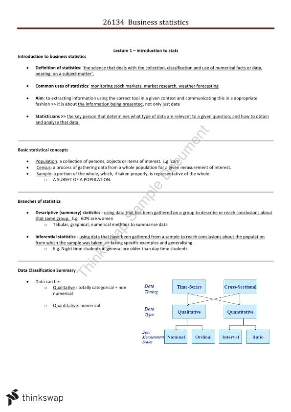 26134 Business Statistics Notes