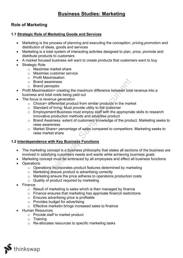 Complete Marketing Study Notes - Page 1