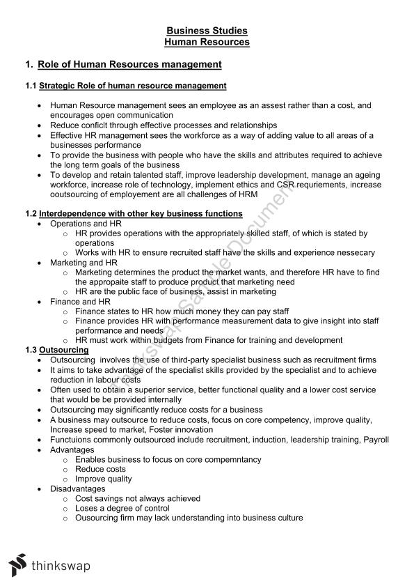 Complete Study Notes for Human Resources