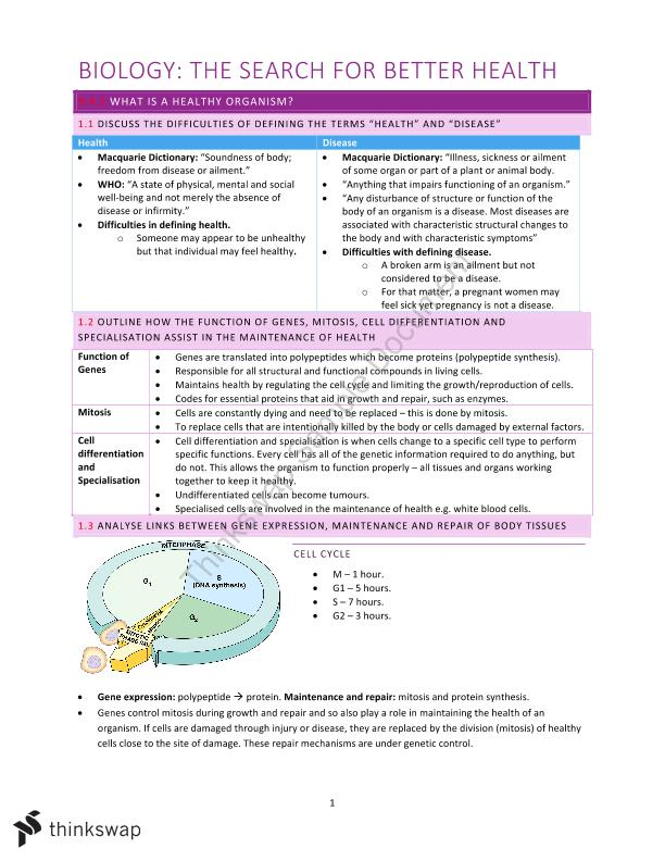 HSC Biology The Search For Better Health Syllabus Dot Point Notes