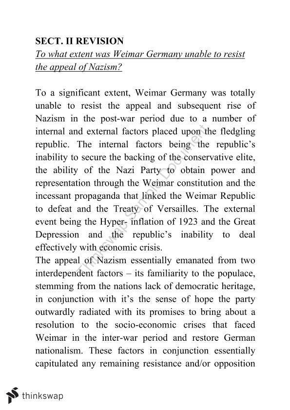 To What Extent was Weimar Germany Unable to Resist the Appeal of Nazism?
