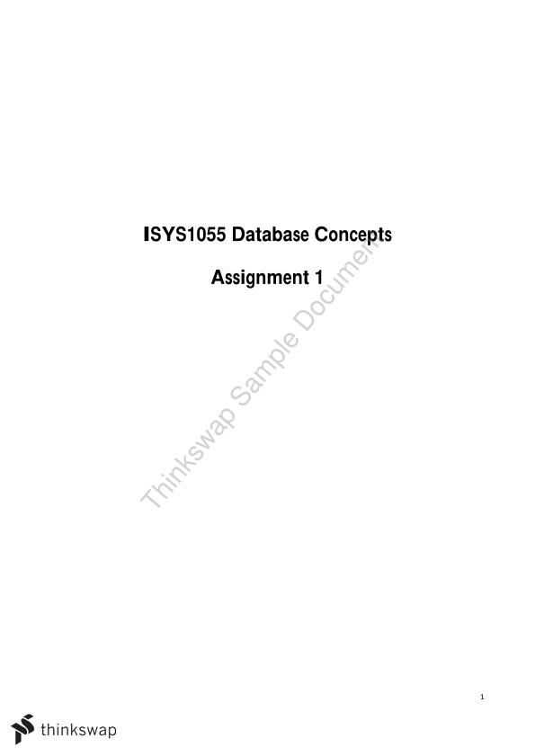 ISYS1055 Database Concepts Assignment 1