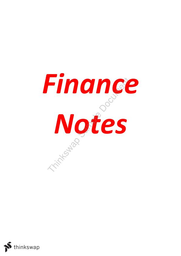 Finance Notes