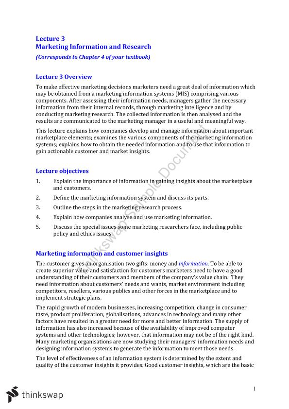 Marketing Fundamentals Lecture 3 Summary Notes