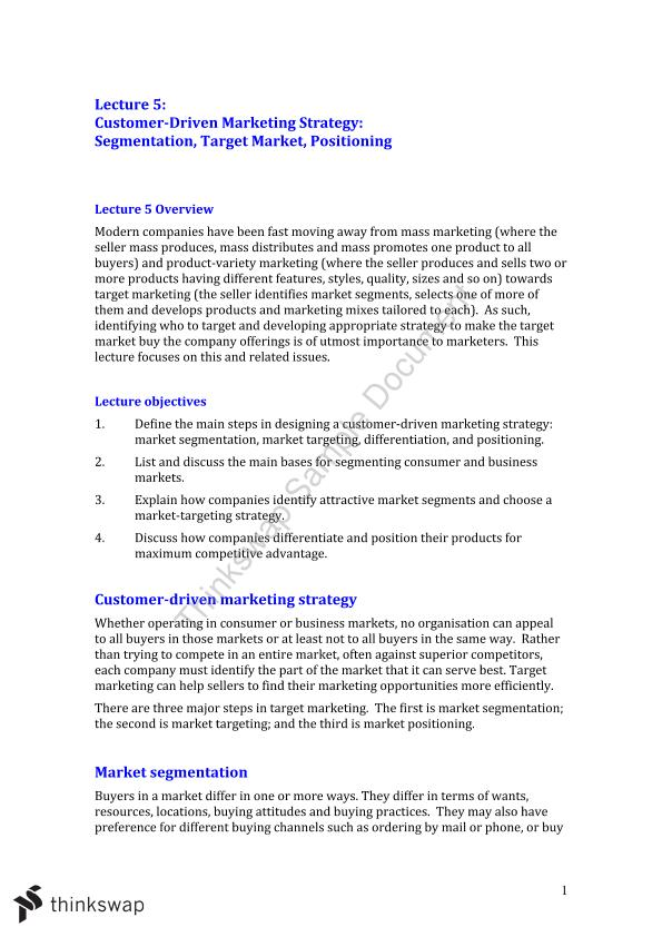 Marketing Fundamentals Lecture 5 Summary Notes  - Page 1