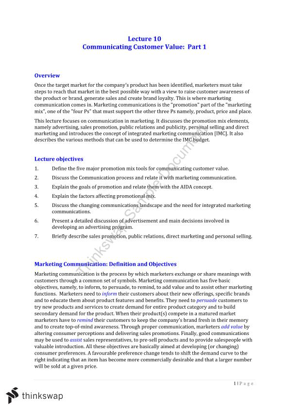 Marketing Fundamentals Lecture 10 Summary Notes